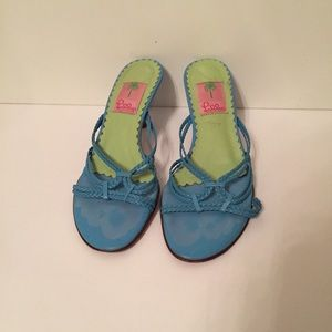 LILLY PULITZER SHOES HEELS SANDAL BLUE LEATHER 7.5